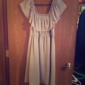 Creamy Tan off the shoulder dress
